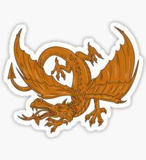 Aggressive Dragon Crouching Drawing Sticker