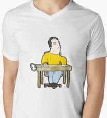 cartoon bored office worker Mens V-Neck T-Shirt
