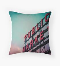 City Architecture Sign Seattle Pike Place Market at Dawn Pacific Northwest City Salmon Washington Travel Vintage Teal Blue Pink Green Throw Pillow