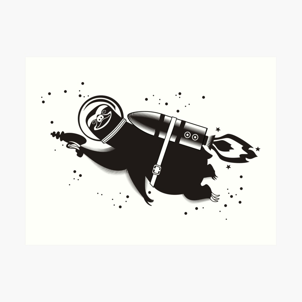 Outer space sloth rocket ray gun Art Print