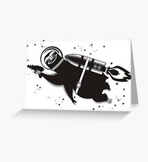 Outer space sloth rocket ray gun Greeting Card