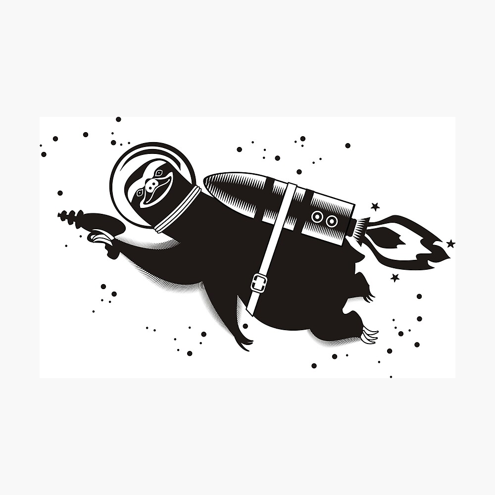 Outer space sloth rocket ray gun Photographic Print
