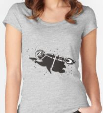 Outer space sloth rocket ray gun Women's Fitted Scoop T-Shirt