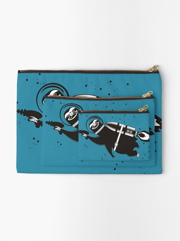 Alternate view of Outer space sloth rocket ray gun Zipper Pouch