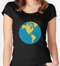 Emoji Earth Globe Americas Women's Fitted Scoop T-Shirt