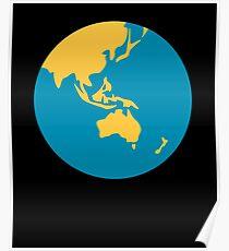 Earth globe Asia-Australia Poster