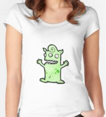 funny little monster cartoon Women's Fitted Scoop T-Shirt
