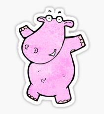 cartoon pink hippo Sticker
