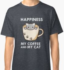 Happiness My Coffee & My Cat Cute Kitty Lover Paws Classic T-Shirt