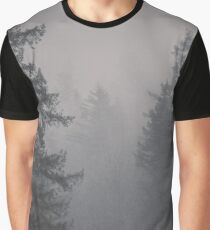 Forest Fog - Black and White Trees on a Mountain Foggy Trees Mountains Forest Pacific Northwest Wall Tapestry Graphic T-Shirt
