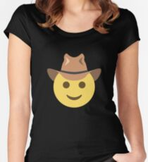 Emoji Face with Cowboy Hat Fitted Scoop T-Shirt