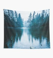 Forest Mountain Fog - Blue Lake Reflection Wall Tapestry