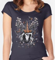 Deer Unicorn Flowers Women's Fitted Scoop T-Shirt