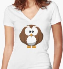Cute Funny Cartoon Silly Owl Character Doodle T Shirts And Gifts Women's Fitted V-Neck T-Shirt
