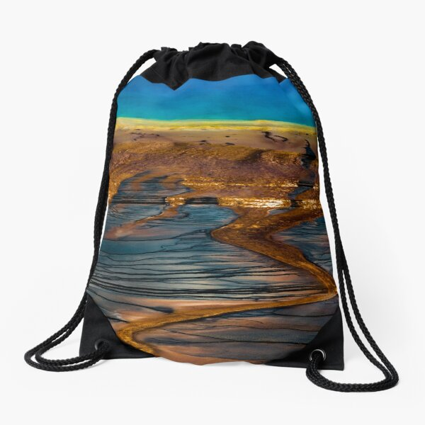 Forest Fog Travel Trees - Landscape - Grand Prismatic Spring - Yellowstone - Wyoming Drawstring Bag
