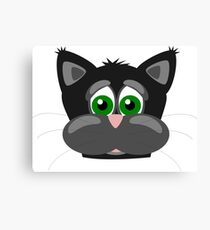 Cool Funny Cartoon Cat - Silly Black Kitten With Green Eyes T Shirts And Gifts Canvas Print