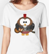 Punk Grunge Rock Guitar Cartoon Owl - Funny Anarchy Music Band Comic T Shirts And Gifts Women's Relaxed Fit T-Shirt