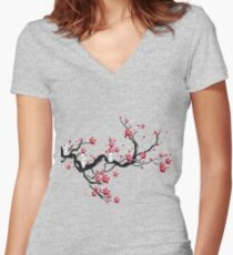 Kodama on a cherry tree Women's Fitted V-Neck T-Shirt