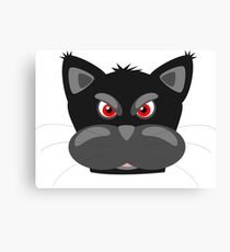 Cool Angry Crazy Mad Red Eyes Cat Cartoon Drawing T Shirts And Gifts Canvas Print
