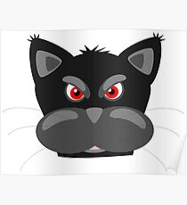 Cool Angry Crazy Mad Red Eyes Cat Cartoon Drawing T Shirts And Gifts Poster