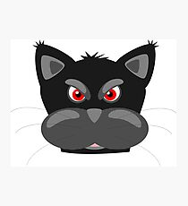 Cool Angry Crazy Mad Red Eyes Cat Cartoon Drawing T Shirts And Gifts Photographic Print