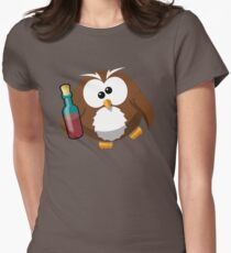 Drunk Cartoon Owl With Wine Bottle - Funny Beer Drinking Lover Problem T Shirts And Gifts T-Shirt