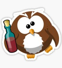 Drunk Cartoon Owl With Wine Bottle - Funny Beer Drinking Lover Problem T Shirts And Gifts Sticker
