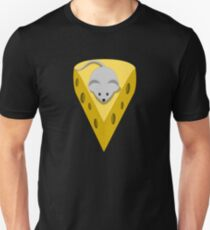 Cute Funny Little Gray Cartoon Mouse On The Top Of The Yellow Cheese  Unisex T-Shirt