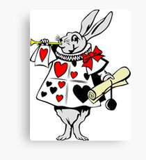 Alice In Wonderland White Rabbit - Cool Funny Weird Poker Suite Cartoon Drawing Canvas Print