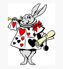 Alice In Wonderland White Rabbit - Cool Funny Weird Poker Suite Cartoon Drawing Photographic Print