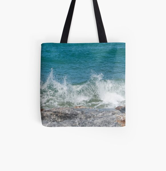 breaking waves All Over Print Tote Bag