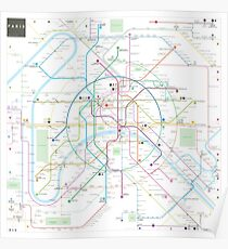 Paris metro map Poster