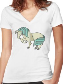 Cute Lovely Stylish Horse Drawing Cartoon - Adorable Horses T Shirts And Gifts Women's Fitted V-Neck T-Shirt