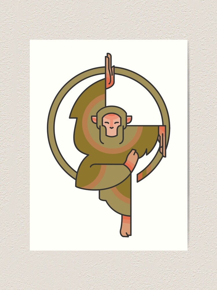 Cool Yoga Zen Karate Meditation Workout Practice Cartoon Monkey Drawing Art Print By Sago Design Redbubble