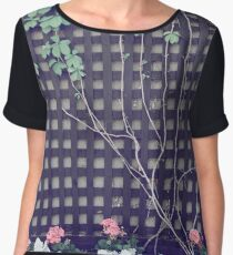 Summer Vine and Flowers on Black Wooden Grid Women's Chiffon Top