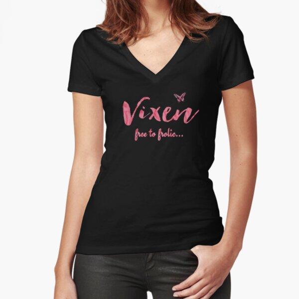 Hotwife Vixen con mariposa - Gratis para divertirse. Camiseta entallada de cuello en V
