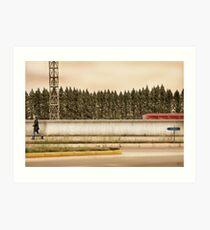 Red Steel Blue Denim Art Print