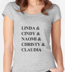 Camiseta entallada de cuello ancho Supermodelos de los 90 - Linda Evangelista, Cindy Crawford, Naomi Campbell, Christy Turlington y Claudia Schiffer