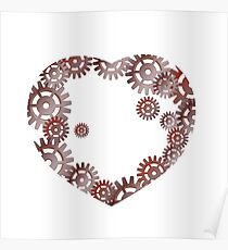 Iron heart with gears. Poster