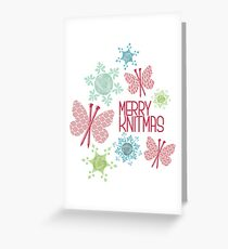 Merry Knitmas butterfly knitting needles yarn snowflakes Greeting Card