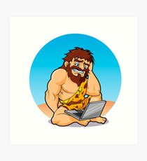 Caveman surprised to find a laptop Art Print