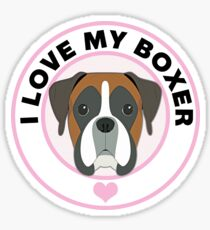 I Love My Boxer Dog Sticker