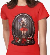 Goth Fashion Girl over Skulls and Roses T-Shirt