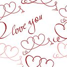 """Two hearts and lettering """"love you""""  by Lusy Rozumna"""