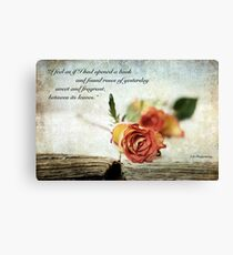Open Book Image With Quote Canvas Print