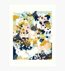 Sloane - Abstract painting in free style navy, mint, gold, white, and turquoise  Art Print
