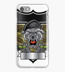 Cougar Panther Mascot Head military emblem iPhone Case/Skin