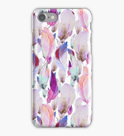 Watercolor feather patter iPhone Case/Skin