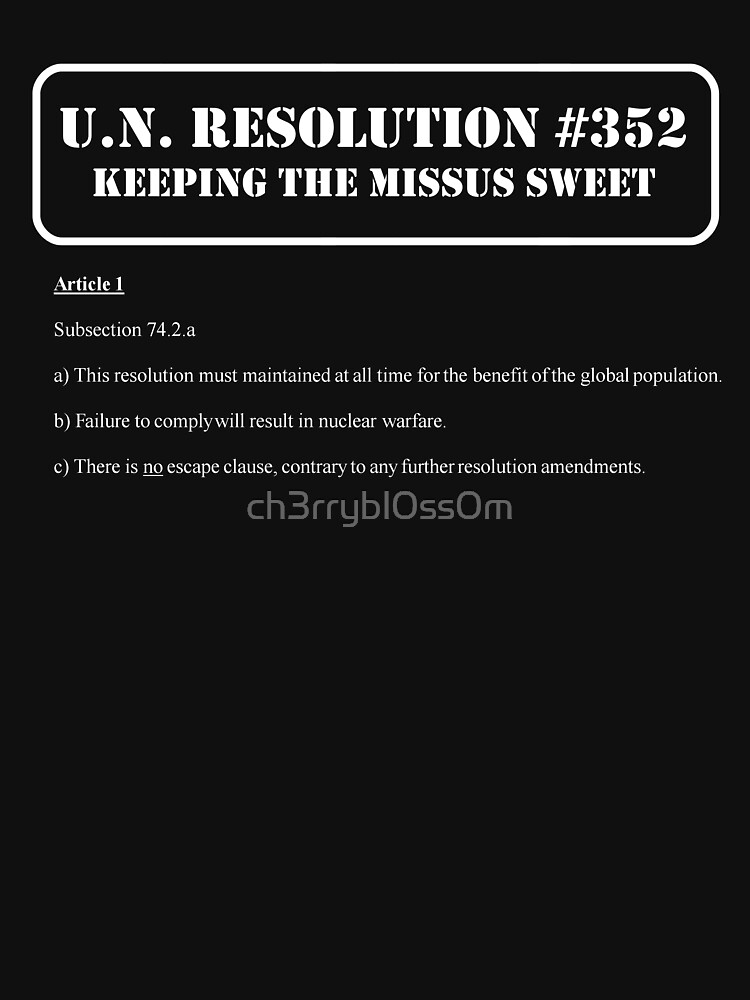 UN Resolution T-Shirt by ch3rrybl0ss0m