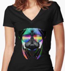 Camiseta entallada de cuello en V Música Love Pug